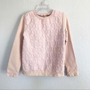 H&M Blush Pink Ribbon Design Sweater Sz 7-8